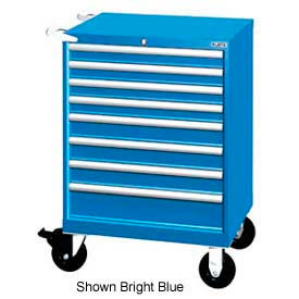 "Lista 28-1/4""W Mobile Cabinet, 8 Drawer, 90 Compart - Bright Blue, Individual Lock"