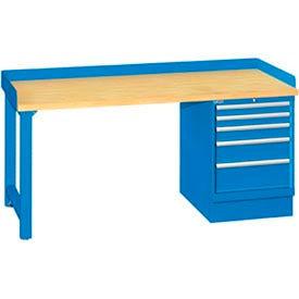 72x30x35.25 Cabinet & Leg workstation w, 5 drawers, back & end stops, butcher block top