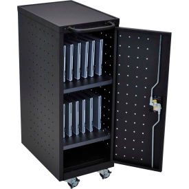 """Luxor Laptop/Chromebook Compact Charging Cart For 12 Devices, 14""""W x 24-3/4""""D x 39-5/8""""H, Black"""