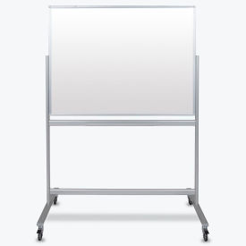 "Luxor Mobile Magnetic Glass Whiteboard - Double Sided - 48""W x 36""H"