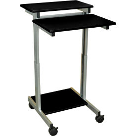 """Luxor Mobile Stand-Up Presentation Station, 24""""W x 29""""D x 34""""- 46""""H, Black"""