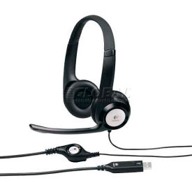 Logitech USB Headset, 981000014, Noise Cancelling Mic, 8' Cord, Black/Silver