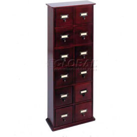 Library Style CD File Drawer Cabinet Cherry, 144 CDs