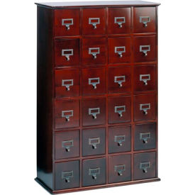 Library Style Multimedia File Drawer Cabinet Cherry, 456 CDs/192 DVDs
