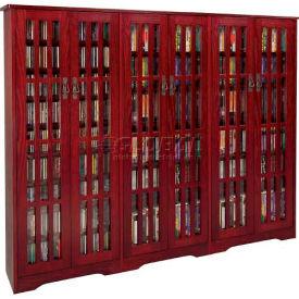 Mission Style Inlaid Glass Doors Multimedia Storage Cabinet Dark Cherry 1431 CDs