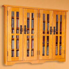 Wall Mounted Mission Style Glass Door Multimedia Storage Cabinet Oak, 380 CDs