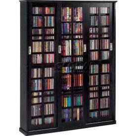 Mission Style Sliding Glass Door Multimedia Storage Cabinet Black, 1050 CDs