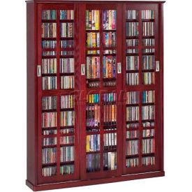 Mission Style Sliding Glass Door Multimedia Storage Cabinet Dark Cherry 1050 CDs