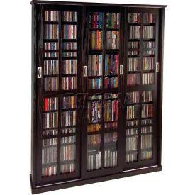 Mission Style Sliding Glass Door Multimedia Storage Cabinet Espresso, 1050 CDs