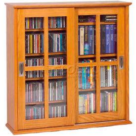 Wall Mounted Sliding Glass Door Multimedia Storage Cabinet Oak, 350 CDs