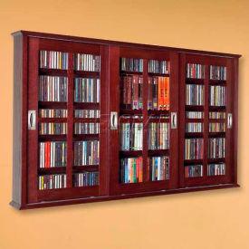 Wall Mounted Sliding Gl Door Multimedia Storage Cabinet Dark Cherry 525 Cds