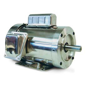 Leeson Motors Motor Washdown Motor-.75HP, 115-208/230V, 3600RPM, TEFC, RIGID C, 1.15 SF, 0 Eff.