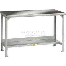 "Little Giant WSS2-3060-AH 60""W x 30""D Stainless Steel Square Edge Workbench, Adjustable Height"