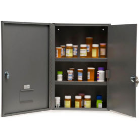 """Graham-Field 3008 Narcotic Safe, Double Door with Key Lock, 16""""W x 8""""D x 24""""H, Gray"""