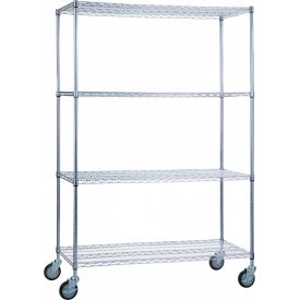 "R&B Wire Products LC184872 Mobile Linen Cart with 4 Wire Shelves, 48""L x 18""W x 78""H"