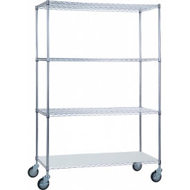 "R&B Wire Products LC244872SOL Linen Cart with 3 Wire Shelves & Solid Bottom Shelf, 48""L x 24""W x78""H"