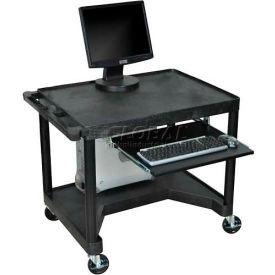 "Mobile Computer Desk - 32"" x 24"" x 32-3/4"" - Black"