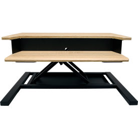 Luxor Level Up 32 Pro Sit-Stand Desktop Platform - White Oak with Black Frame