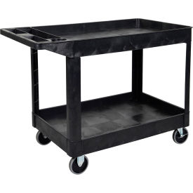 "Luxor®:XLC11-B-Two Shelf Heavy Duty Utility Cart with 5"" Rubber Caster-Black"