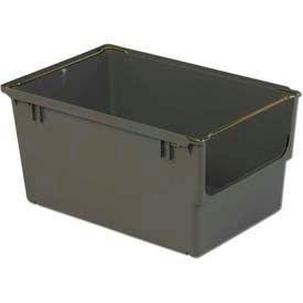 """LEWISBins Heavy Duty Shelf Bin NBS2415-12 With Bail  15-5/8""""W x 23-1/2""""D x 12""""H, Gray"""