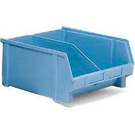 """LEWISBins Plastibox® Stack-Hang Part Bin PB41X w/Divider - 11-13/32""""x12-13/16""""x6"""" Light Blue - Pkg Qty 12"""