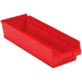 "LEWISBins Plastic Shelf Bin Nestable SB186-4 - 6-5/8""W x 17-7/8""D x 4""H, Red - Pkg Qty 12"