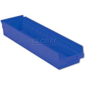 "LEWISBins Plastic Shelf Bin Nestable SB246-4 - 6-5/8""W x 23-5/8""D x 4""H, Blue - Pkg Qty 6"