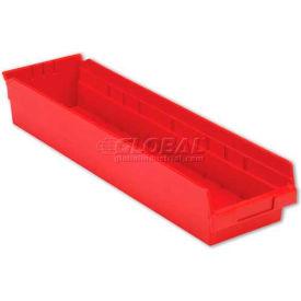 "LEWISBins Plastic Shelf Bin Nestable SB246-4 - 6-5/8""W x 23-5/8""D x 4""H, Red - Pkg Qty 6"
