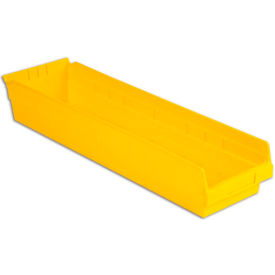 "LEWISBins Plastic Shelf Bin, 6-5/8""W x 23-5/8""D x 4""H, Yellow"