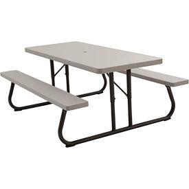 "Lifetime® Fold-Away Picnic Table 72"" x 30"" - Putty"