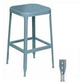 "Lyon® All-Welded Stool With Steel Seat - Steel Glide Feet 18""H Dove Gray, 2/Pk"