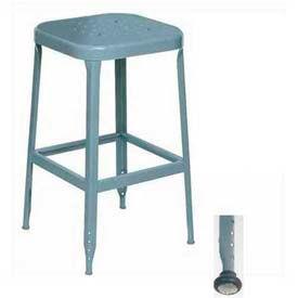 """Lyon® All-Welded Stool w/ Steel Seat-Black Rubber Feet W/ Steel Glide 18""""H Dove Gray, 2/Pk"""
