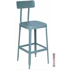 "Lyon® All-Welded Stool w/ Back & Steel Seat-Adjustable Leg Extension 30""H Dove Gray, 2/Pk"