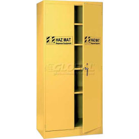 "Lyon HazMat Cabinet 5460HM - With 4 Shelves, 36""W x 24""D x 78""H, Yellow"