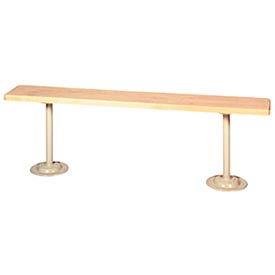 "Lyon Locker Bench Hardwood Top w/Standard Gray Pedestals DD5793 - 36""W x 9-1/2""D x 18""H"