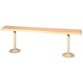 "Lyon Locker Bench Hardwood Top w/Standard Gray Pedestals DD5795 - 60""W x 9-1/2""D x 18""H"