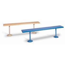 "Lyon Locker Bench Plastic Laminate Top w/Steel Gray Pedestals DD5815 - 72""W x 12""D x 18""H"