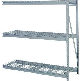 """Bulk Storage Rack Add-On, 3 Tier, Wire Decking, 60""""W x 24""""D x 60""""H Gray"""