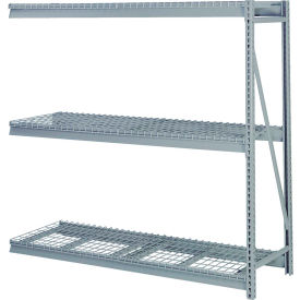 "Bulk Storage Rack Add-On, 3 Tier, Wire Decking, 60""W x 36""D x 60""H Gray"