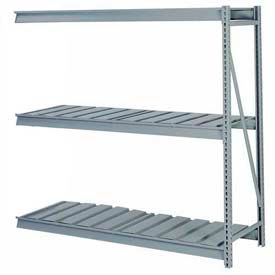 "Bulk Storage Rack Add-On, 3 Tier, Ribbed Decking, 60""W x 24""D x 84""H Gray"