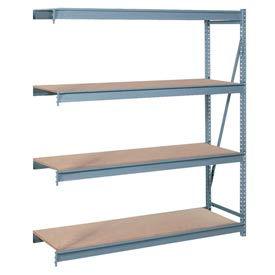 "Bulk Storage Rack Add-On, 4 Tier, Particle Board, 60""W x 24""D x 96""H Gray"
