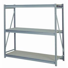 "Bulk Storage Rack Starter, 3 Tier, Particle Board, 72""W x 24""D x 60""H Gray"