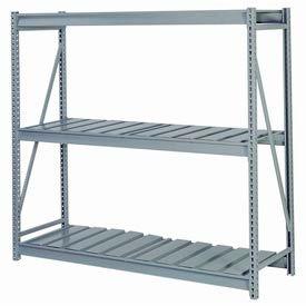 "Bulk Storage Rack Starter, 3 Tier, Ribbed Decking, 72""W x 24""D x 84'H Gray"