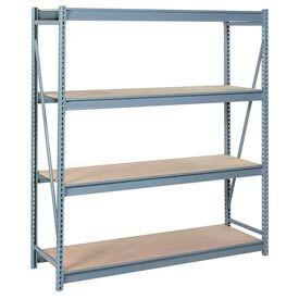 "Bulk Storage Rack Starter, 4 Tier, Particle Board, 72""W x 24""D x 96""H Gray"