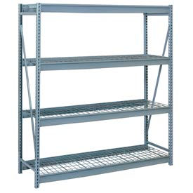 "Bulk Storage Rack Starter, 4 Tier, Wire Decking, 72""W x 36""D x 96""H Gray"