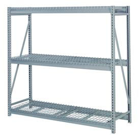 "Bulk Storage Rack Starter, 3 Tier, Wire Decking, 84""W x 24""D x 72""H Gray"