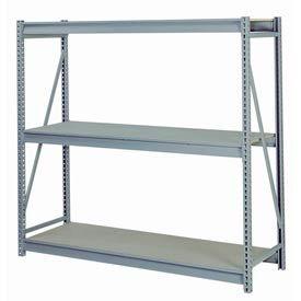 "Bulk Storage Rack Starter, 3 Tier Particle Board, 96""W x 24""D x 72""H Gray"