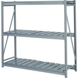 "Bulk Storage Rack Starter, 3 Tier Ribbed Decking, 96""W x 24""D x 72""H Gray"