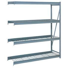 """Bulk Storage Rack Add-On, 4 Tier, Wire Decking, 96""""W x 30""""D x 96""""H Gray"""