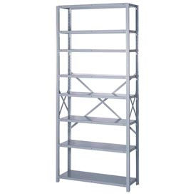 "Lyon Steel Shelving 18 Gauge 36""W x 12""D x 84""H Open Style 8 Shelves Gy Add-On"